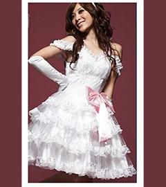 ,Белое платье с перчатками